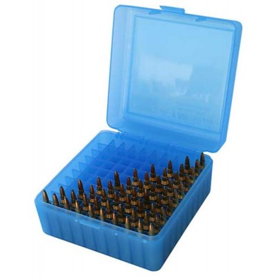 MTM 100 Round Rifle Ammunition Box RS-100 Blue RS-100
