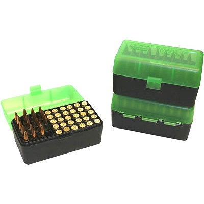 MTM 50 Round Rifle Ammunition Box RM-50 Green/Black RM-50