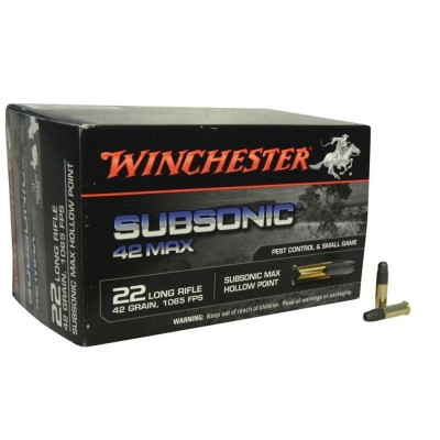 Winchester Subsonic 22LR 42Grn HP Ammunition 50 PACK W22SUB