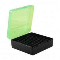 MTM 100 Round Pistol Ammunition Box P-100-3 Green/Black