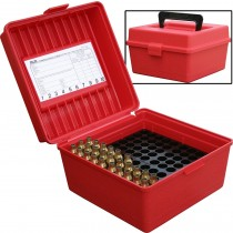 MTM 100 Round Deluxe Rifle Ammunition Box R-100 Red (R-100-30)